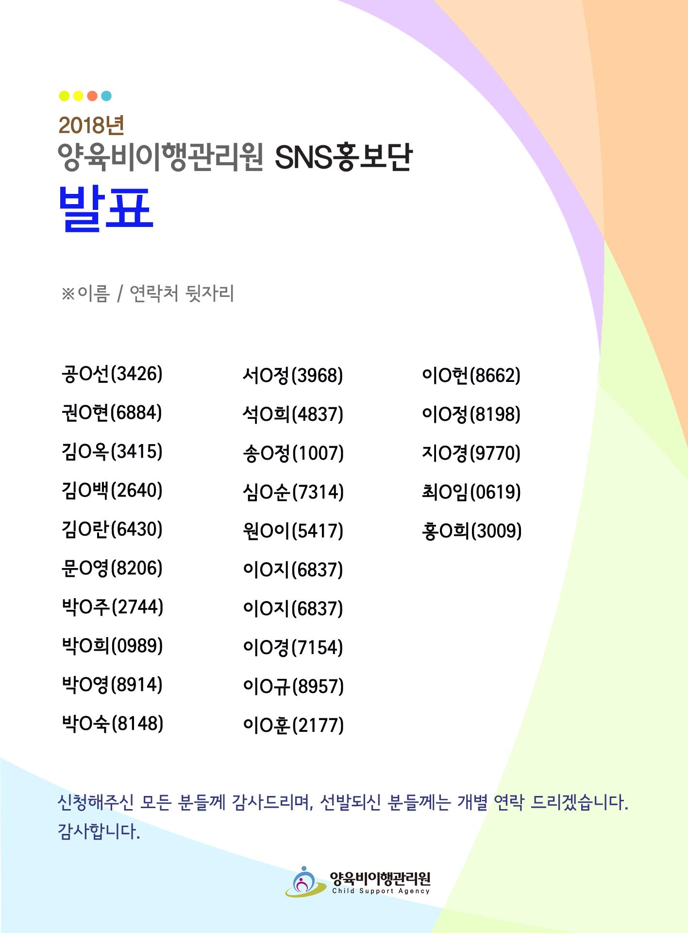 2018양육비이행관리원 SNS홍보단 발표